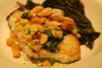 Pesce Spada con di Ceci (swordfish with roasted garlic and mint, on mint pesto)