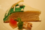 Cassata (traditional Sicilian marzipan-enrobed cassata cake presented to the table whole)