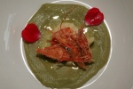 Green Ocean - fava bean, yogurt, sweet shrimp, edible flower