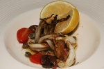Grilled Calamari (½) 14 Anchovies, capers, Gaeta olives, onions, roasted garlic, lemon, beurre noisette