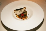 Bass, roast vegetables, squid and black olives