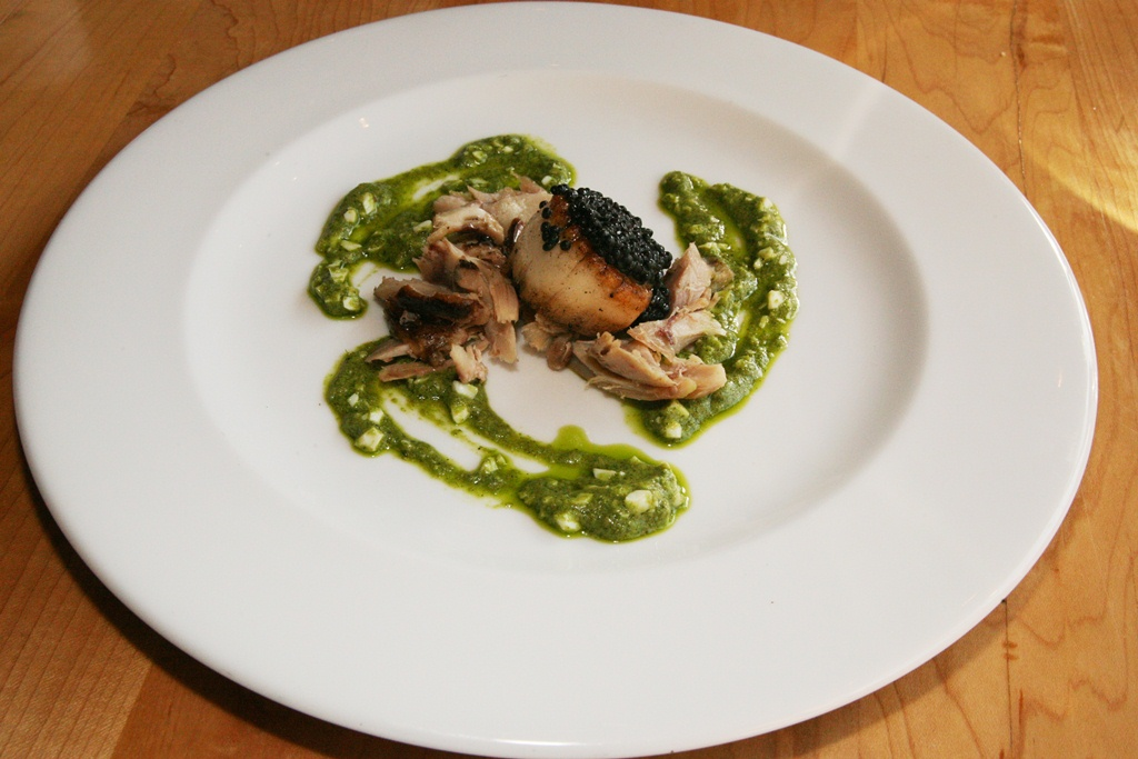 Smoked Scallop – smoked chicken leg, herring caviar, sauce gribiche ...