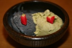 Black Sesame ice cream and Green Tea ice cream