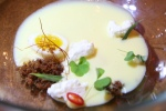 Chilled Corn Soup, Andouille, Yellow Plum, Smoked Cream, Tarragon