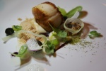 Diver Scallop, Shaved Foie Gras, Celery Puree, Pecan, Concord Grape, Scuppernong Mustard