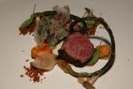 Beef Bavette, Sweet Onion Puree, Beef Tendon, Bone Marrow Gravy, Pickled Chanterelle
