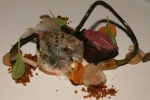 Beef Bavette, Sweet Onion Puree, Beef Tendon, Bone Marrow Gravy, Pickled Chanterelle
