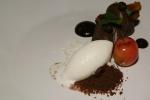 Dark Chocolate Cremeaux Milk Sorbet, Pistachio, Cherry
