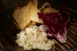 Scallop Tartare Chopped Scallops and house made bacon karashi mustard mayonnaise wonton chips