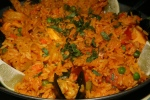 PAELLA MARINERA for TWO Saffron rice with seafood, chicken, chorizo, zucchini, sweet peppers $36.00