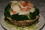 Sautéed Assorted Seafood with vegetables $13.95 (Lots of large shrimp, Cuttlefish and scallops)