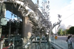 The metal sculpture in front of Momofuku Toronto (Maitre 'd stand in bottom left at entrance door)