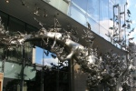 The metal sculpture in front of Momofuku Toronto