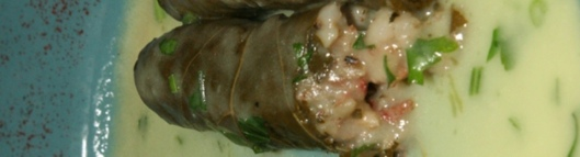 Dolmadakia Stuffed wine leaves with rice and ground beef $8.95