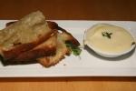 Duck confit terrine, pistachio, wild leek, porcini. Duck liver pâté, brandy butter, Toast