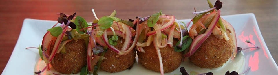 Cod Croquette charred lemon aioli, bread & butter pickles
