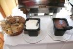 Various sliced Bread, Sour Cream, Apple Sauce