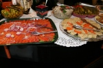 Lux (Smoked Salmon) and onion, Olives, Horseradish, Gefilte Fish, Herring Tidbits in Wine Vinegar, Dill Pickles