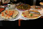 Gefilte Fish, carrots, Herring Tidbits in Wine Vinegar, Dill Pickles, Plain Sable Fish. Pepper Sable Fish