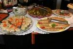 Gefilte Fish, carrots, Herring Tidbits in Wine Vinegar, Dill Pickles, Plain Sable Fish. Pepper Sable Fish