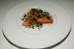 Cold Poached Trout - Crushed Tomatoes, Burnt Onion Crumble, Seedlings