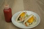 4. Steamed Buns - peameal, yolk, mustard $10