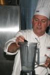 Chef John Placko preparing Horchata with Coconut Caviar