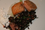 Walnut Crusted Salmon on Sushi Rice Cakes with Black Rice Salad