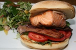 SALMON BLT potato roll, grilled salmon, house cured bacon, tomato, red wine oioli, fresh greens