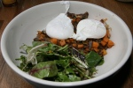 DUCK HASH duck confit, sweet potatoes, caramelized onions, poached farm fresh egg, fresh greens