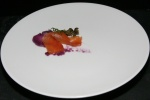 Amuse Bouche Scottish Salmon house cured, purée of purple sweet potato, smoked deep fried capers