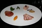 Charcuterie chicken liver mousse, mosto cotto, whole grain mustard, duck ham, apricot-shallot jam, lomo, cornichon, caper berry