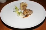 Poached Chicken Breast, Roasted Leg, Celery; Salsify, Black Truffle Cream