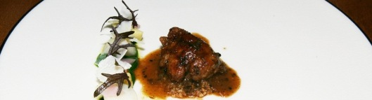 Roasted Veal Sweetbreads, Black Truffle Braised Cheek, Spinach, Artichokes, Turnip