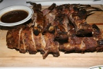 Grilled Rack of Lamb and Barbecue Baby Back Ribs (served with hot fruit compote and mint jelly)