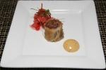 Amuse Bouche Bison Pastrami Spring Roll Radish Watermelon Kimchi and mustard Aioli