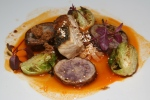 Ivory Salmon crispy brussels sprouts, daikon noodles, blue potatoes, pork bone broth