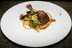 Everspring Duck Confit scallion pancake, cucumber salad, apple hoisin glaze