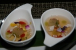 Ginger Consommé fennel gelée, goji berry, mint oil