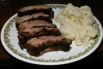 Sunday lunch of Barberian's Steak House Barbecue Baby Back Ribs with cauliflower (We could not eat them last night.)