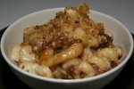 Beijing Mac an Cheese, BBQ Chinese Pork, Green Onions, hoisin, Asiago