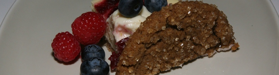 French Toast Cheesecake, Gingersnap Cookie and Berries