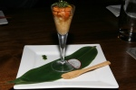 Vancouver famous Chef Sada's Sea Urchin Shooter – Natural Ocean Viagra, Shiso* sticky Yamaimo Yam, Sea Kelp, Sushi Rice, Yuzu Orange and Sea Urchin in one. You can eat it or drink it. $7.80