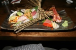 7 Kind Assortment Maguro, Hamachi, Amaebi, Salmon, Hotategai, Sea Urchin, Oysters, Special $45.00 Hawaiian big eye tuna (maguro), Japanese yellowtail (hamachi), B.C. sweet shrimp (amaebi), wild sockeye salmon (sake) scallop (hotategai), East Coast oysters