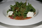 Betteraves au Chèvre Frais – Beets and goat cheese on arugula tossed in a grainy mustard & raspberry vinaigrette