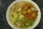 Seafood with egg noodle soup $6.75