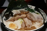 Noukou Tonkotsu Shio Ramen $9.50 (Pork shoulder, Green onion, Canola flower, Black fungus, Cabbage, Seasoned soft boiled egg and Housemade black oil) Toku-Mori $3.00 (Add Extra pork shoulder, Pork belly, Nori seaweed, Seasoned bamboo shoots)