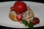 "Strawberry ""Fool"" Macerated Local Strawberries Cinnamon Sabayon/Puff Pastry"