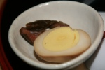 Seasoned Egg (Part of Sake Kara Miso) and Jelly Ear (3 mm strips of Kikurage)