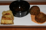 kimchi 3 ways seared dumpling, takoyaki balls & tofu tower